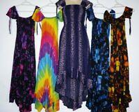 Tie dye Dress Hippie multi coloured rainbow Comfy Free size Hippy Boho Gypsy new