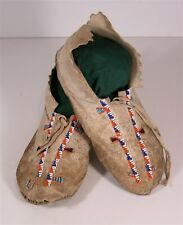 1910s Native American Plains / Cheyenne Indian Bead Decorated Hide Moccasins