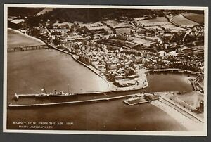 Postcard Isle of Man Ramsey view From The Air aerial RP by J Salmon