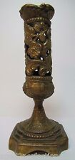 Antique Art Nouveau Candlestick lovely gold bronze wash ornate scrollwork floral