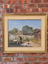 Beautiful Italian O/C Impressionist Landscape Painting By Paride Castellan C1955