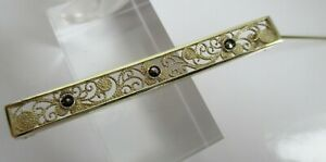 Art Deco Brosche Stabbrosche vergoldet filigran mit Markasiten 800 Silber