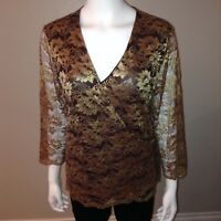 Lane Bryant Wrap Blouse Size 14/26 Womens Gold Floral Sheer Top Shirt V Neck