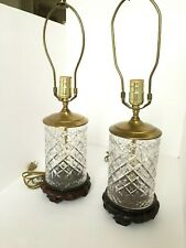 """Pair of Vintage Etched Alana Cut Crystal Electric Lamp Wooden Base Brass 9"""" Tall"""
