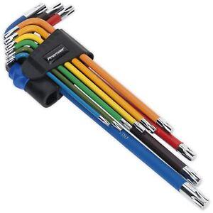 Sealey Premier 9pc Colour Coded Extra Long Trx Star Torx Allen Key Set T10-T50