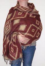 Boho Bandit Aztec Design Reversible Warm Snug Indian Soft Acrylic Shawl (AR1)