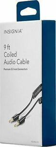 NEW 3.5mm Male to Male Stereo 9-foot Coiled Audio Auxilary Cable NS-MAUX9