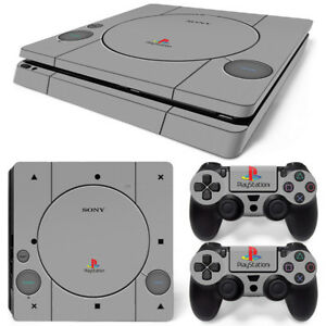 PS1 Retro Vinyl  Decal Skin Sticker FOR  PS4 Slim Console &2 Controllers