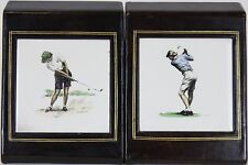 Classic Pair of Lady Golferette Plaque Leather c50s Bookends
