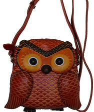 Genuine Leather Cross Body Bag, Baby Owl Face and Shape, Zipper closure, Brown