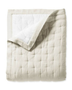 NWT $398 Serena & Lily Sutter Linen Cotton Quilt - King/Cal King - Flax Tan