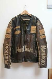 Marlboro Racing Leather Jacket Size XXXL / 3XL Brown Vintage Rare