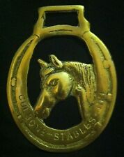 Rare CULBONE-STABLES-INN Horse Head in Closed Horse Shoe Harness Brass England!