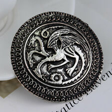 Vintage Dragon Anime Icons Pin Alloy Round Badge Brooch Men Clothing Accessories