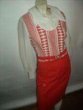 Vtg 60s 70s Womens M Orange Geometric Print Disco Retro Mod Go Go Scooter Dress