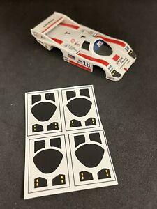 Window decals for AFX Porsche 962 HO slot car bodies