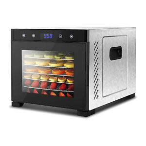 NutriChef Electric 600 Watts Countertop Food Dehydrator with 6 Trays, Silver