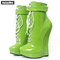 18cm Ultra Lady High Heel Wedge Hoof Sole Sexy Lace-up Punk Ankle BALLET Boots