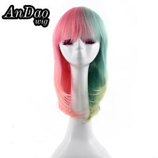 Melanie Martinez Cosplay Wig Long Straight Bob Half and Half Dyed Pink Blue Wig