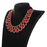 Exaggerated Women's Crystal Faux Pearl Wrap Statement Chocker Necklace Collar
