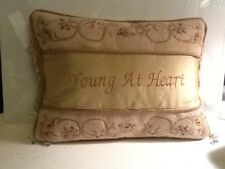 Young At Heart Vintage Needlepoint Pillow With Beads Gold  And Roses