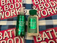 New Bath & Body Works Vanilla Bean Noel Body Mist & Lotion 3 oz  Travel Size Set