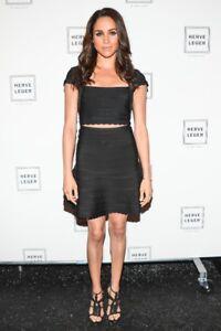 Herve Leger Skirt Set Black Bandage Beaded Top seen on celebrities XS XXS