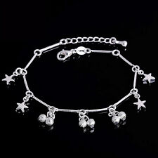 Chain Link Beach Bracelet / Anklet Silver Plated 925 Cherry Star Beaded Droplet