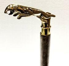 Antique Brass Jaguar Designer Handle Leather Wraped Wood Walking Stick Cane Gift