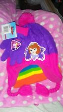 Disney One Size Purple Cable Knit Sofia The First Beanie hat & Gloves Set tag22$