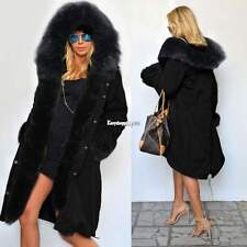 Womens Warm Long Coat Fur Collar Hooded Quilted Jacket Slim Winter Parka Outwear