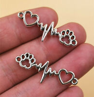 DIY Making 10pcs Paw ECG charms 34x12mm Tibetan Silver Pendants Jewelry Findings