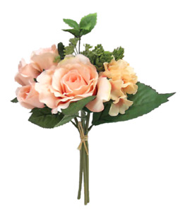 Artificial Champagne Pink Rose and Hydrangea Floral Bunch