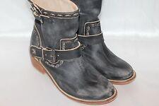 NEW! MUSSE & CLOUD Black Distressed Leather ANZEL Moto Ankle Boots Sz 9 EU40