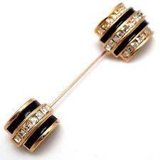 Signed Christian Dior Stick Pin Brooch Gold Plated Set with Crystals  New
