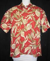 Medium Pierre Cardin Hawaiian Shirt Red w/ bird of paradise leaves
