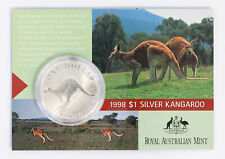 1998 Royal Australian Mint $1 Silver Frosted 1oz Kangaroo Carded Coin D5-2757
