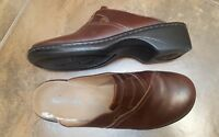On Mules Slip Leather 32545 Clarks Women's 8M Size Brown Clogs Shoes 0axnCxpYq
