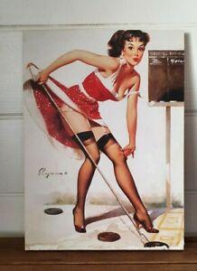 Vintage print Pin up girl  block mounted USA Gil Elvgren print B&B BLT2