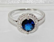 STERLING SILVER (925) BLUE SAPPHIRE HALO LADIES CLUSTER RING - size M