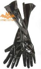 Adult Black Long Leather Gloves Opera Costume Vinyl Shiny Cat Womens Wet Look