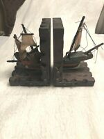 Vintage Pirate Bookends Caribbean Sailboat Ship Wood Gift Decor Office Library