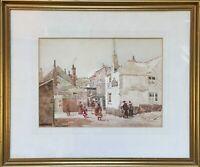 Arthur White 1865-1953 Häuser mit Personen British Artist  St Ives Cornwall