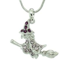 Swarovski Crystal Purple Halloween Pendant Witch Broomstick Necklace Made With