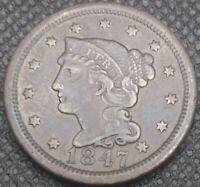Genuine 1847 Large Cent Nice Coin!