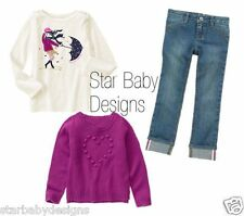 NWT Gymboree BUNDLED & BRIGHT Outfit Size 6 Top,Sweater,Denim Straight Jeans 3PC