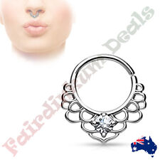 CZ Centered Silver Ion Plated Lotus Filigree All Brass Bendable Septum Ring