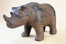Rhino Cast Iron Doorstop Door Stop Holder Heavy Vintage Look Rustic Brown