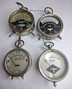4 x VINTAGE VOLT ELECTRICAL GAUGES - Fob Watch Style Steampunk Meter Amps Repair