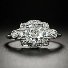 14K White Gold Over 2.1Ct Diamond Circa 1930s Engagement Vintage Retro Fine Ring